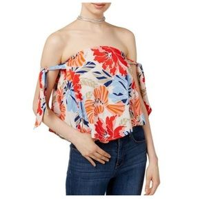 ASTR THE LABEL Havana Tie-detail Off Shoulder Top
